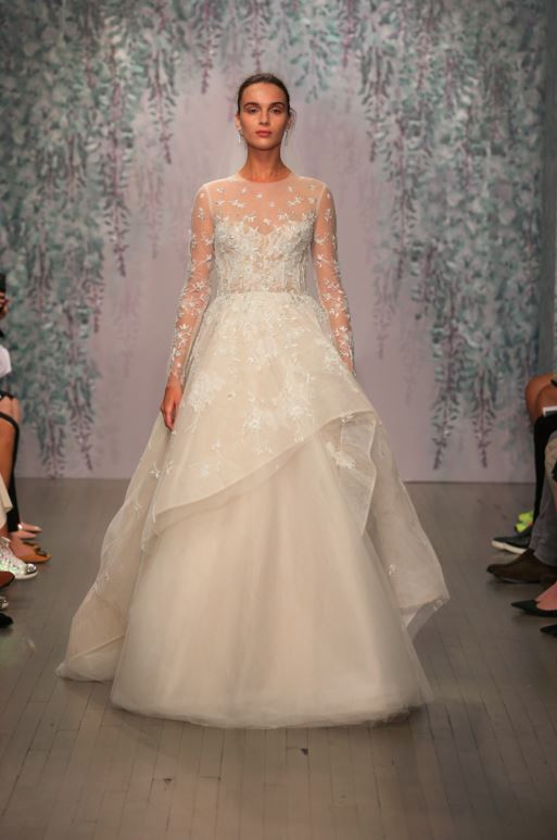 latest-bridal-dress-trends-gowns-white-fall-2015-winter-2016-layered-ruffle-monique-lhuillier-sheer-lace