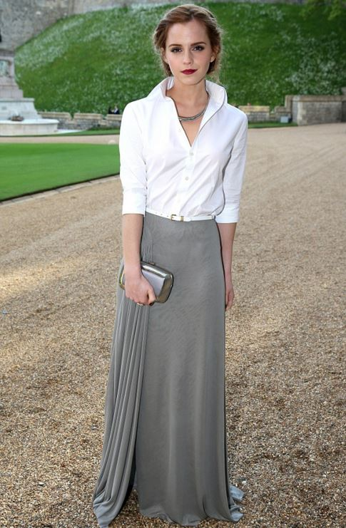 Emma-Watson-Best-Red-Carpet-Looks-white-shirt-grey-skirt-castle