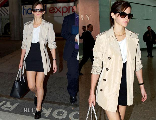 Emma-Watson-black-skirt-baige-overcoat