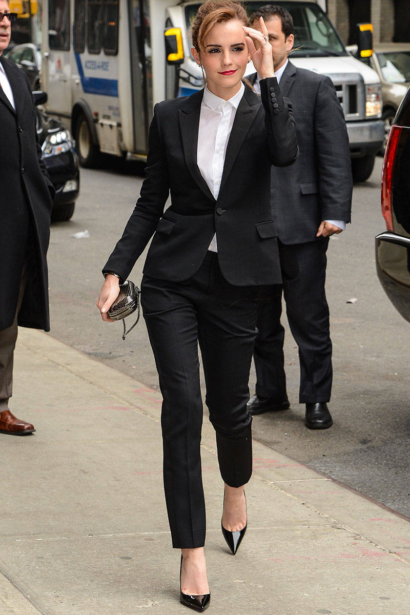 Emma-watson-formal-black-suit-white-shirt-black-heals-sexy