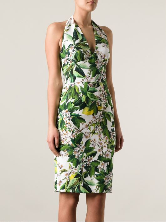 dolce-gabbana-white-pencil-halter-dress-leaf-floral-print-green