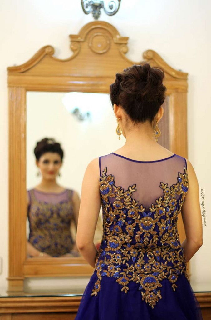Indian Engagement Gown Blue Dress Bridal Hairstyle