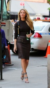 how-to-wear-black-leather-skirt-pencil-blake-lively