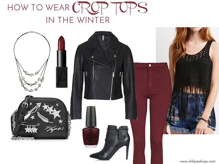 how-to-wear-crop-tops-in-winter-style-dress-what-to-wear-with-fringes-skinny-burgundy-leather-jacket