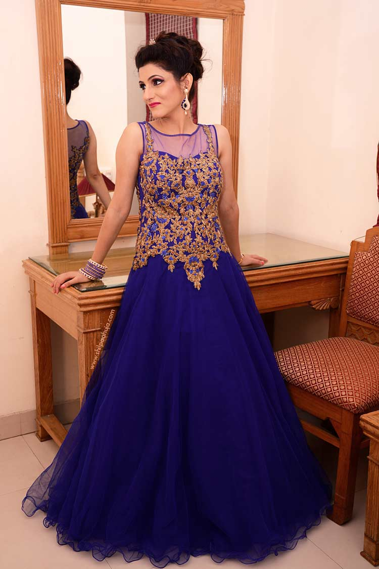 Indian Engagement Gown Blue Dress Amp Bridal Hairstyle