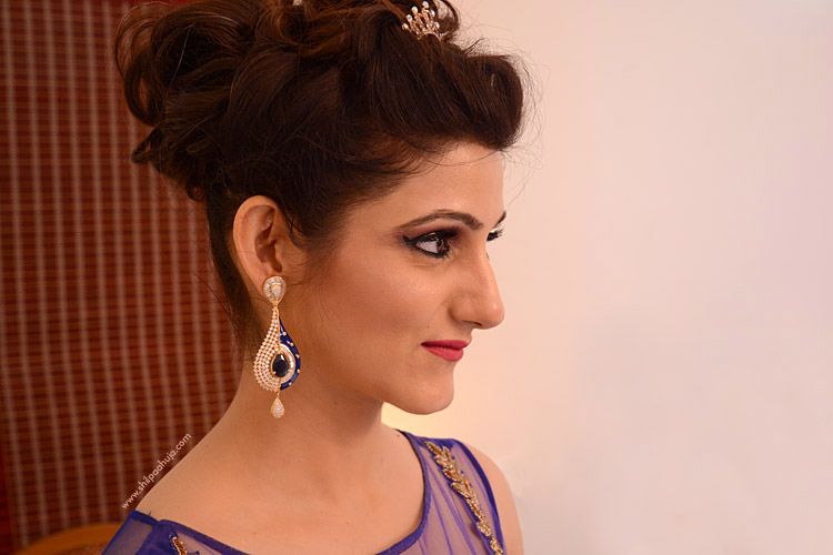 shilpa-ahuja-blue-party-dress-earrings-bun-hairstyle-tiara