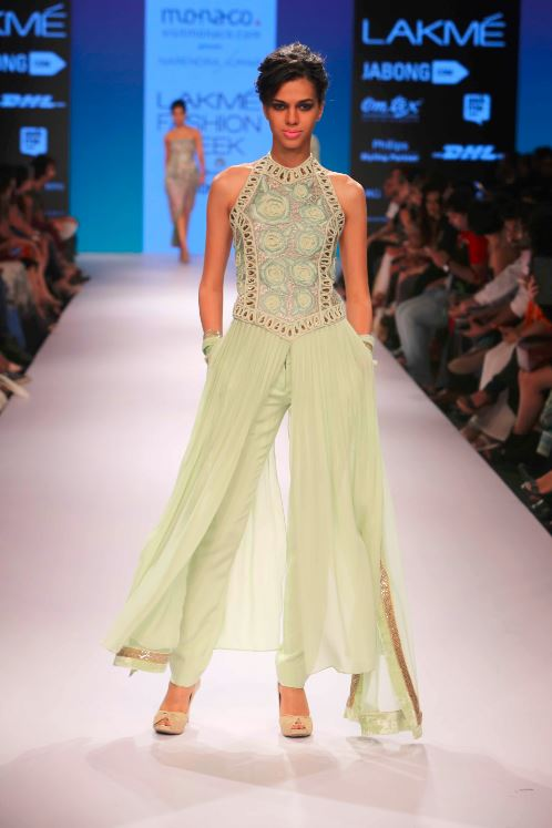 Narendra-kumar-lfw-2015-winter-cream-palazzo-pants-dress-indian-wedding-outfits-girls