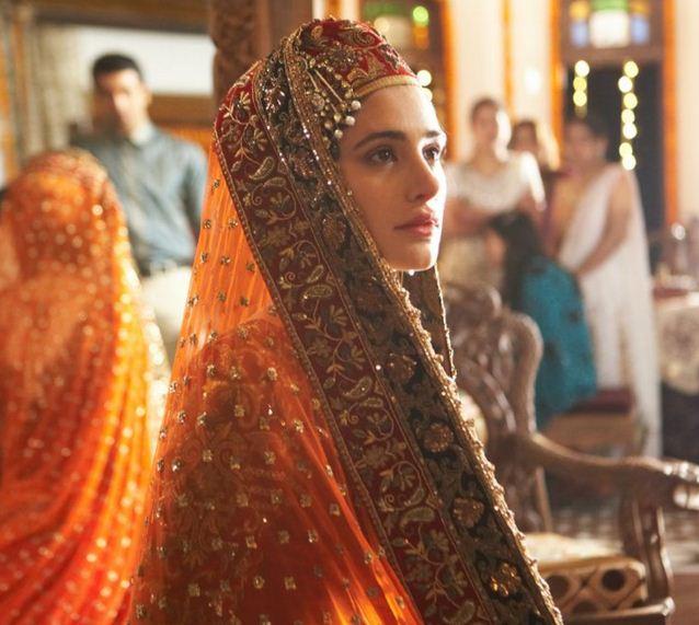 Nargis-Fakhri-Rockstar-kashmiri-bride-orange-red-dress-jewelry-bollywood-look