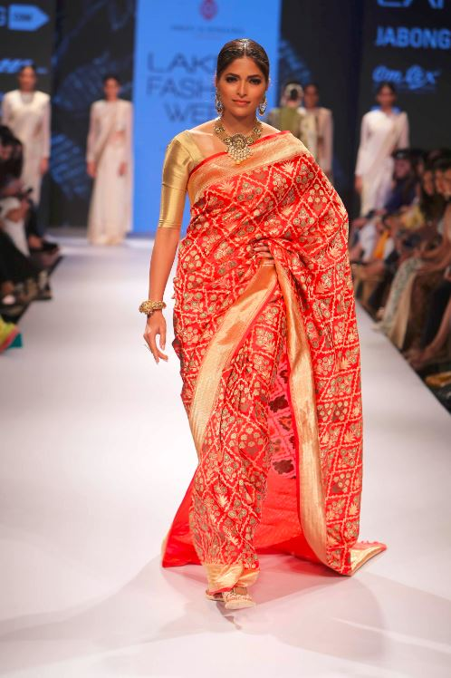 Swati Sunaina Red Saree Gold Indian Fashion Couture