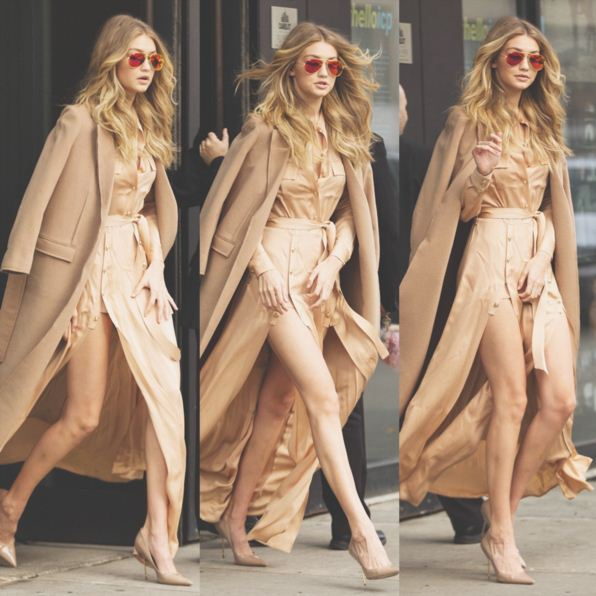 gigi-hadid-instagram-hot-supermodel-sexy-golden-dress-over-coat-red-sunglasses