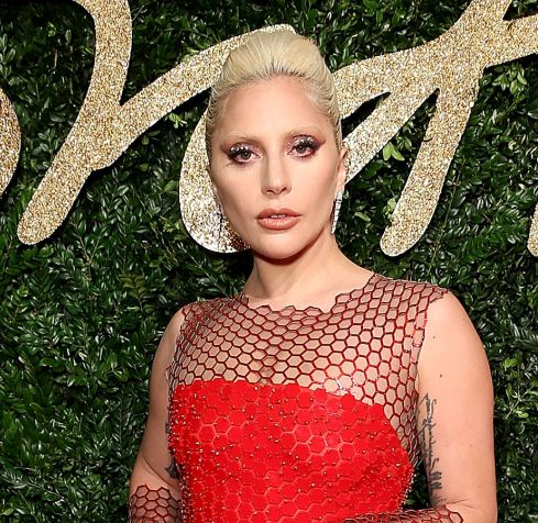 lady-gaga-british-fashion-awards-blonde-hair-color-red-dress-makeup