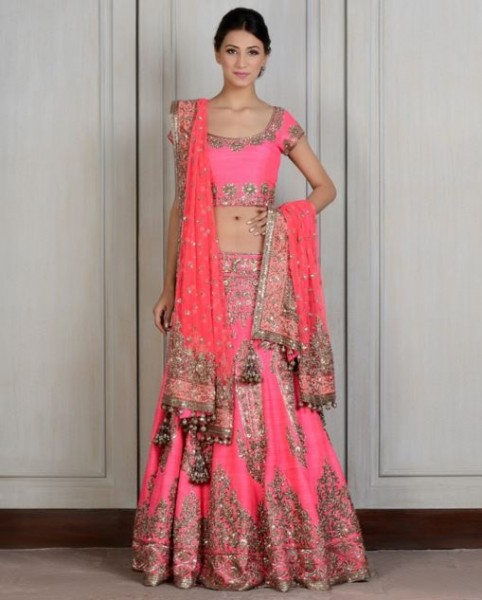 manish-malhotra-bridal-lehenga-indian-wedding-2015-2016-latest-pink-fuchsia-embroidery-tassles-heavy