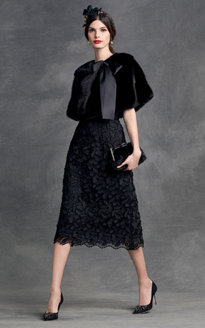 party-dresses-winter-holiday-dressing-outfit-2015-dolce-gabbana-black-lace-cocktail-dress