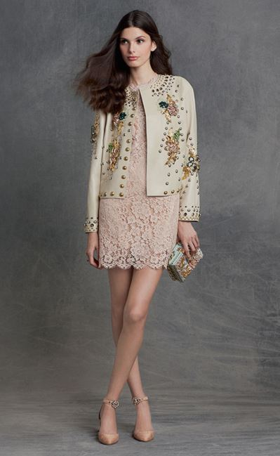 party-dresses-winter-holiday-dressing-outfit-2015-dolce-gabbana-pink-cream-lace-cocktail-dress-eggshell-jacket