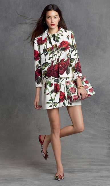 party-dresses-winter-holiday-dressing-outfit-2015-dolce-gabbana-white-red-rose-dress-jacket