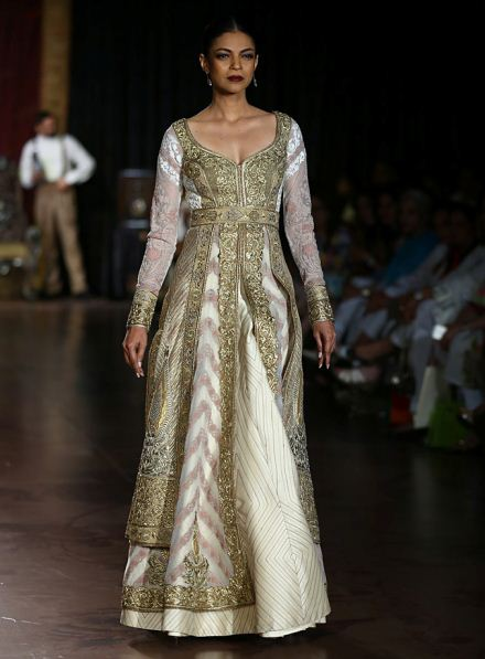 rimple-harpreet-narula-white-gown-designer-indian-wedding-outfit-gold-gota-embroidery-silk-2015