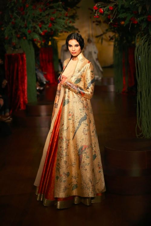 rohit-bal-gold-gown-jacket-long-orange-bird-print-indian-couture-fashion-wedding