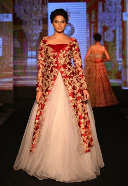 Shyamal Bhumika Designer Indian Wedding Gown Red Gold