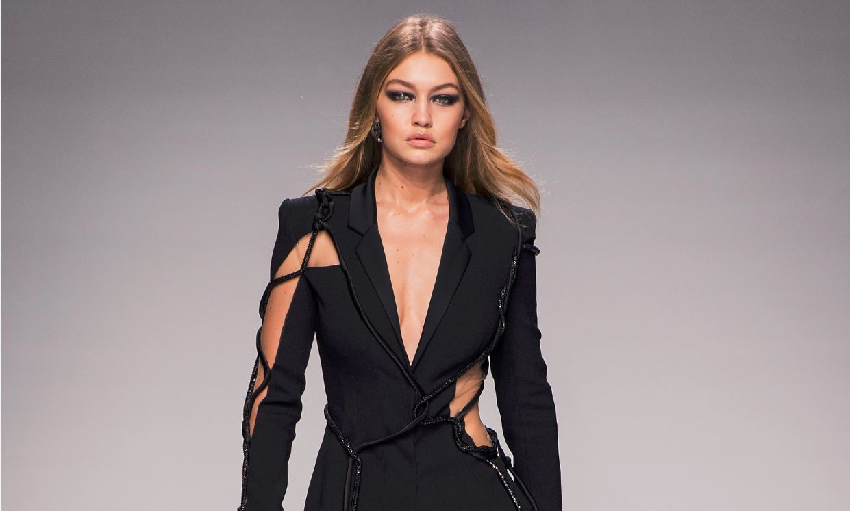 46-gigi-hadid-atelier-versace-spring-2016-couture-outfit-black-suit-string-cut-out-designer-makeup