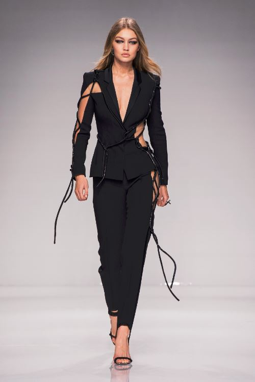 46-gigi-hadid-atelier-versace-spring-2016-couture-outfit-black-suit-string-cut-out-designer