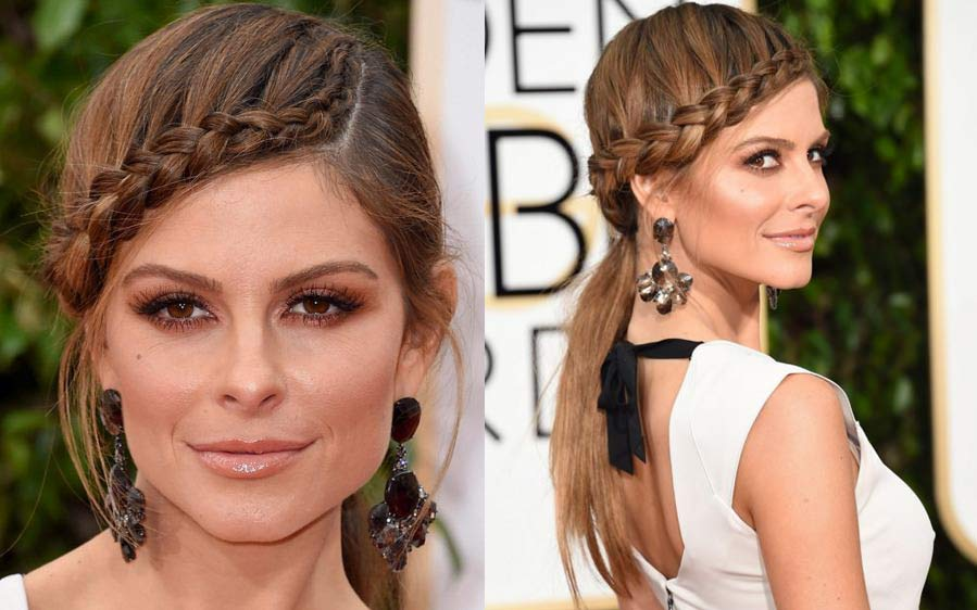 Maria-Menounos-Golden-Globes-2016-hairstyle-Side-part-braid-headband-party-red-carpet