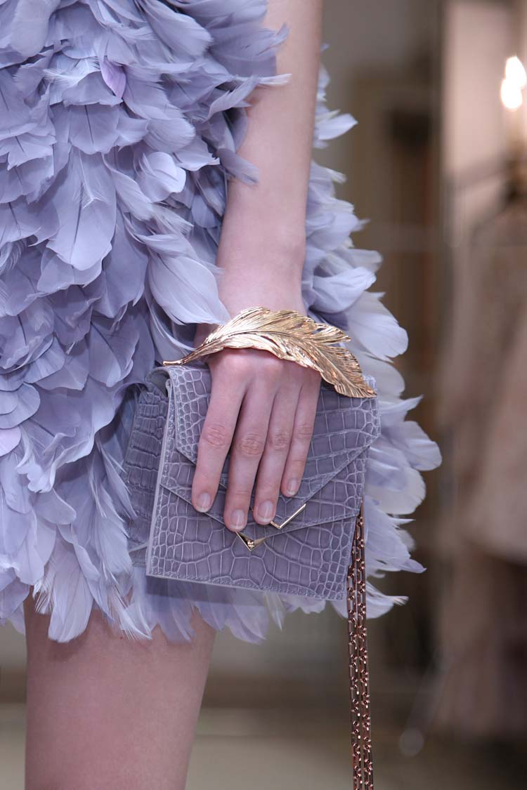 Ralph-&-Russo-SS16-couture-feather-dress-handbag-leaf-handle-clutch
