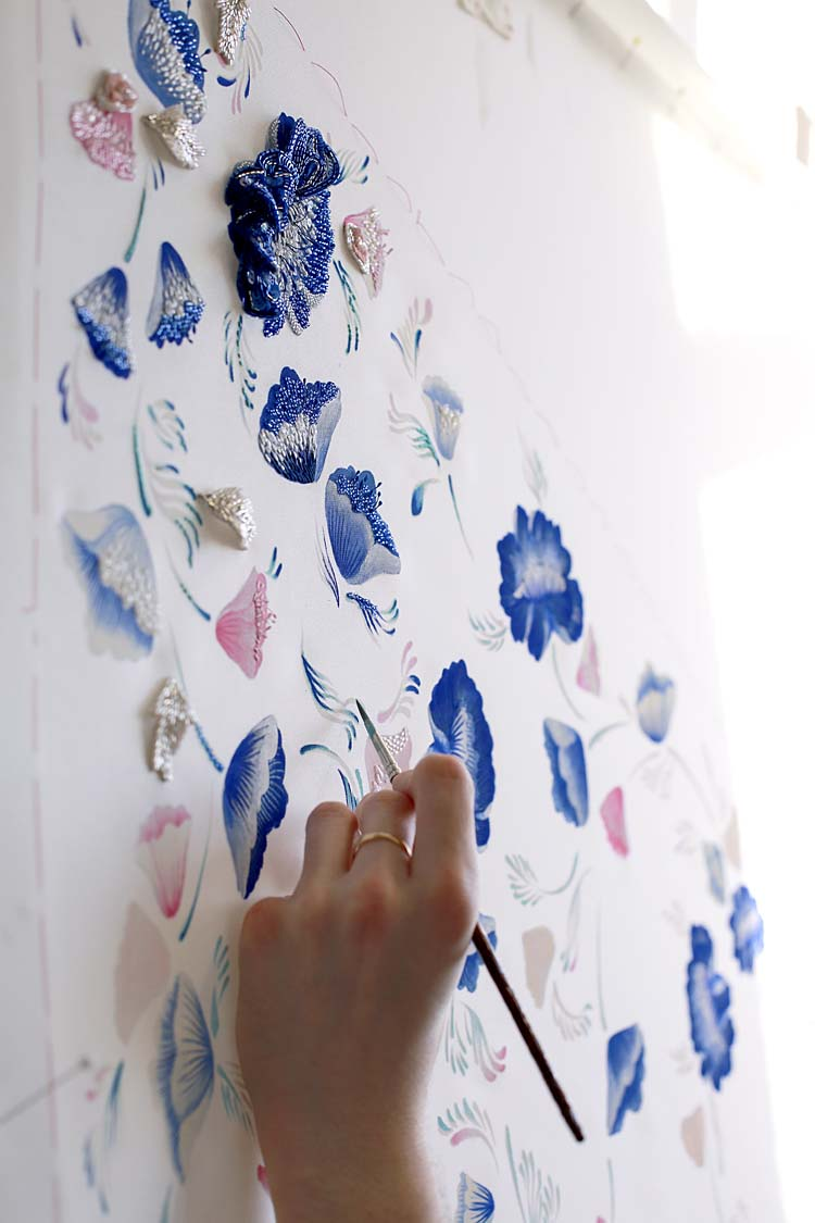 Ralph-&-Russo-SS16-couture-making-hand-painted-blue-flowers-embroidery-dress-creating