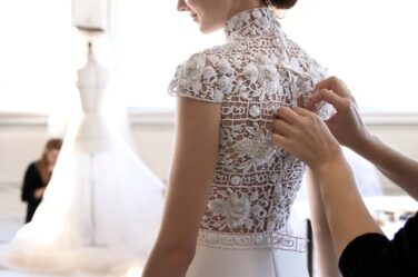 Ralph-&-Russo-SS16-couture-making-lace-dress-fitting-back-model