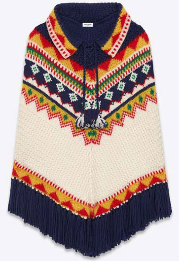 SAINT-LAURENT-FAIRE-ISLE-PONCHO-IN-NAVY-BLUE,-IVORY,-RED,-YELLOW-AND-GREEN-WOOL,-MOHAIR-AND-POLYAMIDE