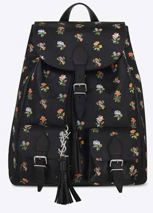 SAINT-LAURENT-FESTIVAL-BACKPACK-IN-BLACK-AND-MULTICOLOR-PRAIRIE-FLOWER-PRINTED-LEATHER