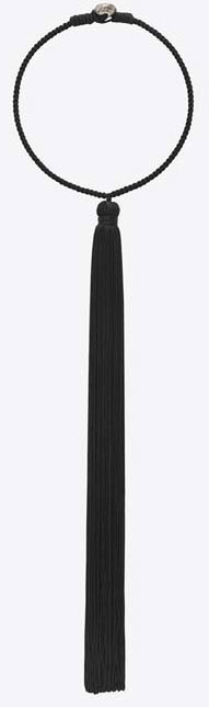 SAINT-LAURENT-LOLITA-TASSEL-CHOKER-IN-BLACK-VISCOSE-AND-OLD-SILVER-TONED-BRASS