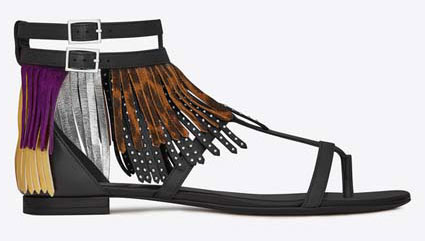 SAINT-LAURENT-NU-PIEDS-10-FRINGED-SANDAL-IN-BLACK-LEATHER,-TAN-BRUSHED-LEATHER,-DARK-VIOLET-SUEDE-AND-GOLD-AND-SILVER-METALLIC-LEATHER