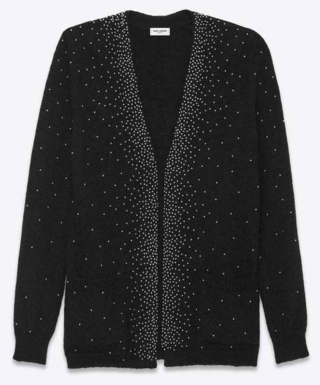 SAINT-LAURENT-OVERSIZED-V-NECK-STUDDED-CARDIGAN-IN-BLACK-AND-SILVER-MOHAIR,-NYLON-AND-WOOL