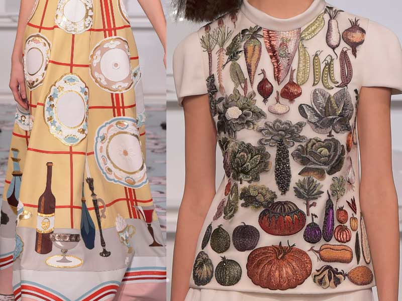 Schiaparelli-spring-summer-2016-couture-fashion-show-kitchen-garden-vegetable-dining-motif-dress