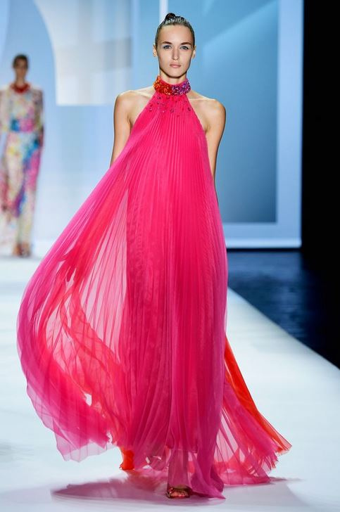 best-top-latest-looks-new-york-fashion-week-spring-summer-2016-rtw-outfits-monique-lhuillier-hot-fuchsia-pink-maxi-dress