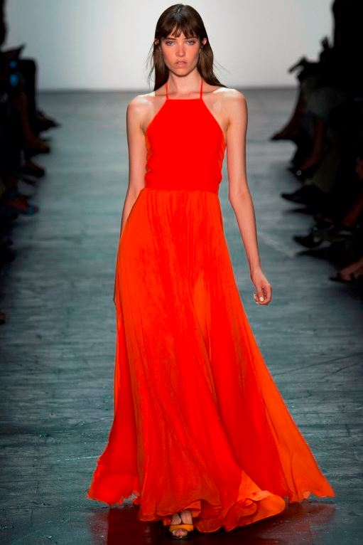 best-top-latest-looks-new-york-fashion-week-spring-summer-2016-rtw-outfits-prabal-gurung-saffron-red-dress-gown