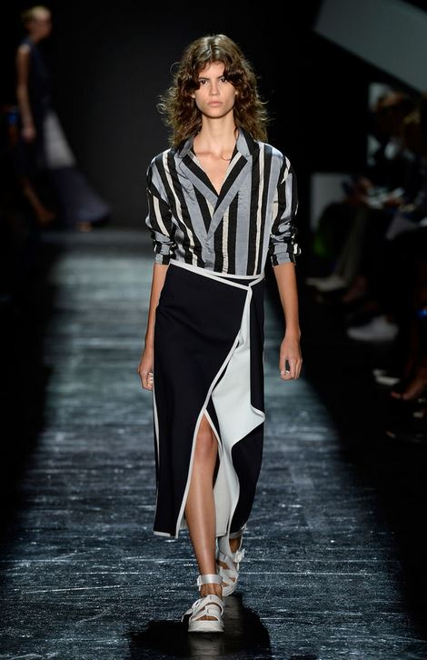 best-top-latest-looks-new-york-fashion-week-spring-summer-2016-rtw-outfits-public-school-white-black-midi-skirt-slit-stripe-shirt