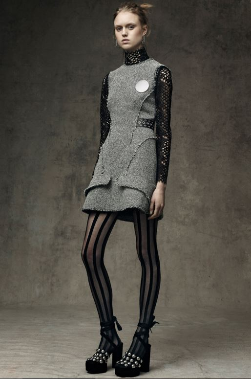 best-top-pre-fall-2016-looks-dresses-alexander-wang-grey-dress-striped-stockings-studded-heels