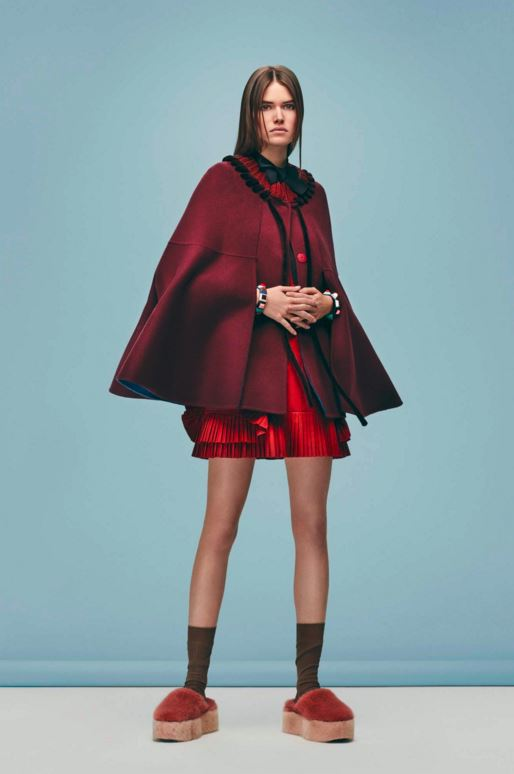best-top-pre-fall-2016-looks-dresses-fendi-burgundy-cape-jacket-red-dress-fur-platform-shoes