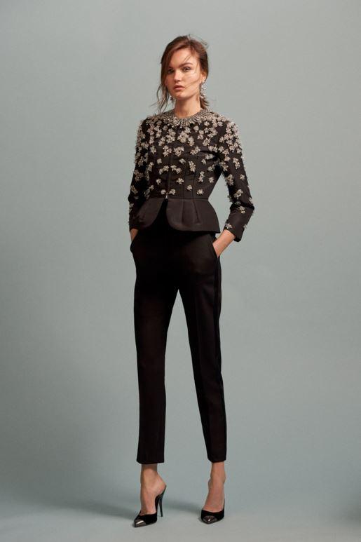best-top-pre-fall-2016-looks-dresses-oscar-de-la-renta-slip-on-pumps-trousers-peplum-top-crop