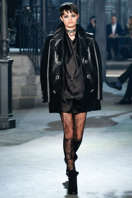 chanel-pre-fall-2016-fashion-show-look-black-shirt-leather-coat-boots-laced-stockings