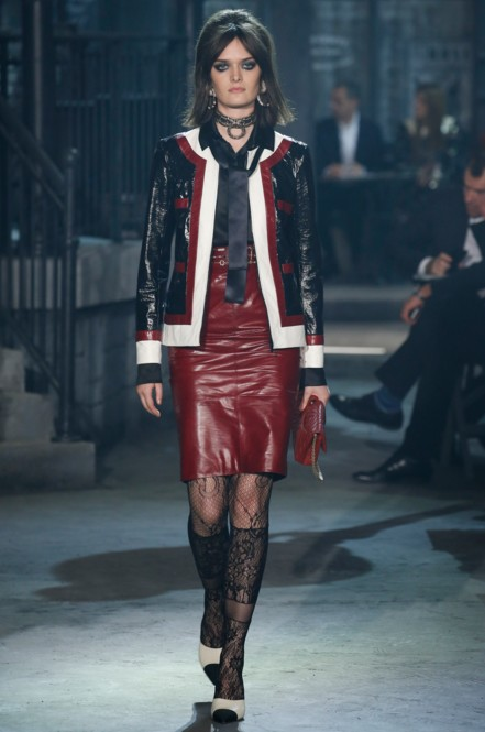 chanel-pre-fall-2016-fashion-show-look-burgundy-leather-skirt-jacket-tie-laced-stockings