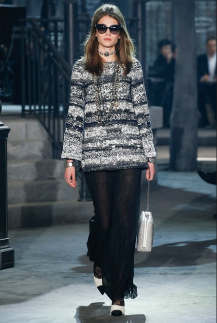 chanel-pre-fall-2016-fashion-show-look-fur-top-stacked-necklace-kinky-dress-coolers-bag