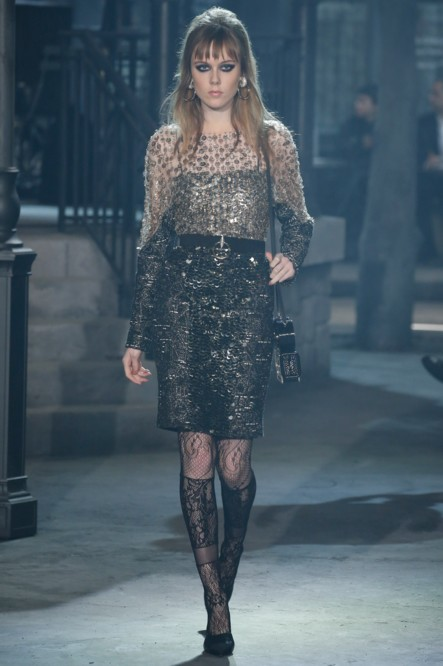 chanel-pre-fall-2016-fashion-show-look-sequin-black-skirt-laced-stockings-bouffant-hairstyle