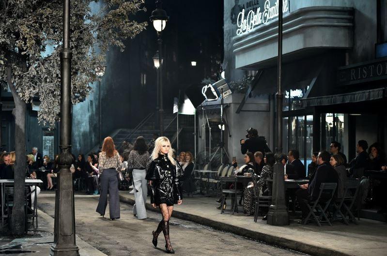chanel-pre-fall-2016-fashion-show-paris-in-rome-model-patent-leather-black-coat