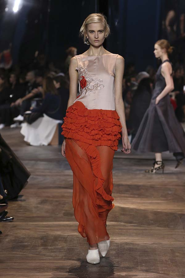dior-spring-summer-2016-couture-outfit-41-red-frill-skirt-sheer-top