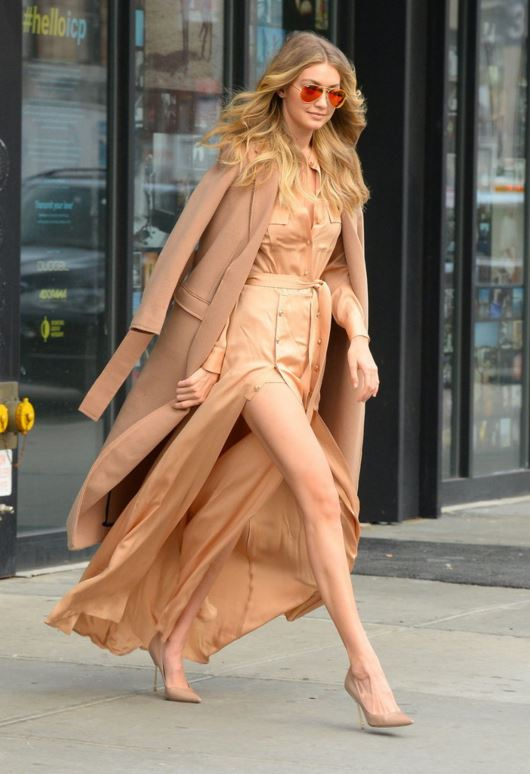 gigi-hadid-trench-belt-dress-slit-winter-2016-street-style-peach-cream-outfit-look-celeb
