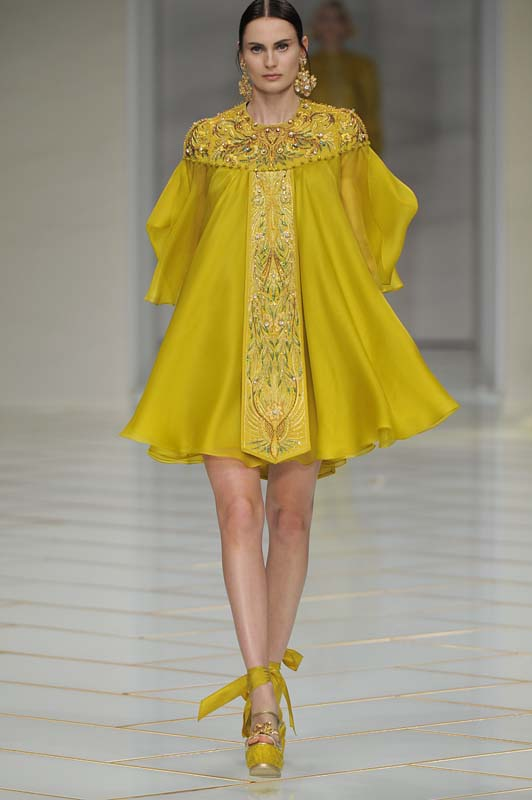 guo-pei-spring-summer-2016-couture-show-dress-28-mustard-gold-flared-shoes-ankle-ribbon