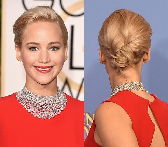 jennifer-lawrence-hair-golden-globe-2016-short-hairstyle-bun-red-carpet