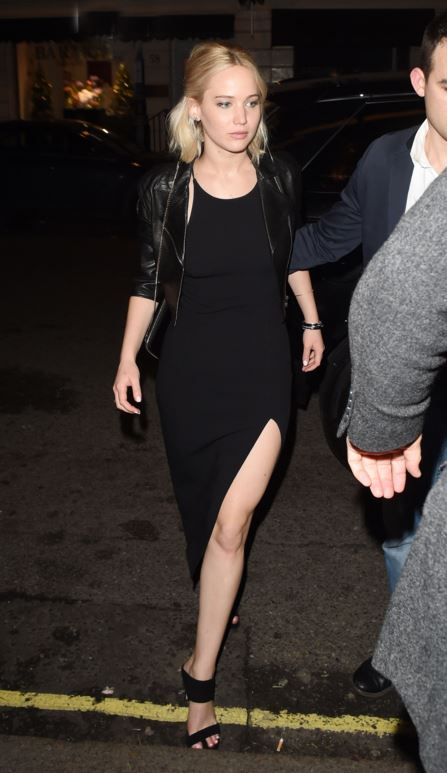 jennifer-lawrence-jlaw-black-midi-dress-slit-lbd-street-style-party-outfit-look-celeb